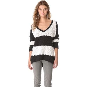 Free People Songbird Rugby V Neck Sweater